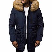 Зимняя куртка мужская теплая стильная на синтепоне в синем цвете