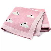 Детский плед в кроватку хлопковый Розовые зайки