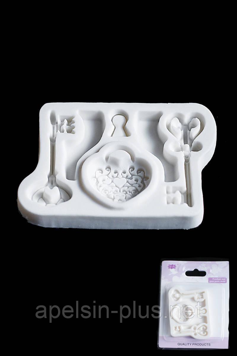 Молд силиконовый для мастики, изомальта и шоколада Ключи и Замочек 8,0 см 5, см