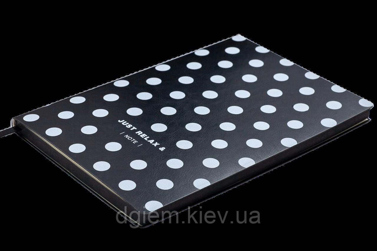 Блокнот деловой RELAX А5 96л. клетка, иск. кожа, черный