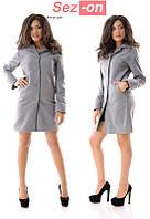 Пальто женское кашемировое на пуговицах - Серый