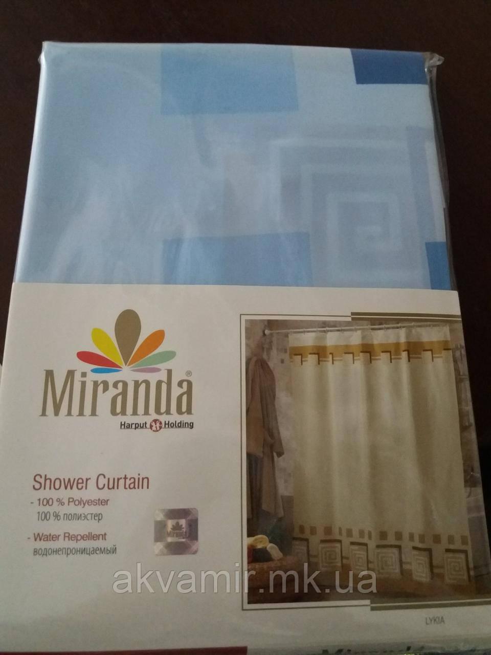 Штора в ванную  Miranda LYKIA (Турция) 180х200 см голубая
