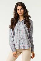 Женская рубашка с цветочным принтом /серая, 42-48, LL-004-1/