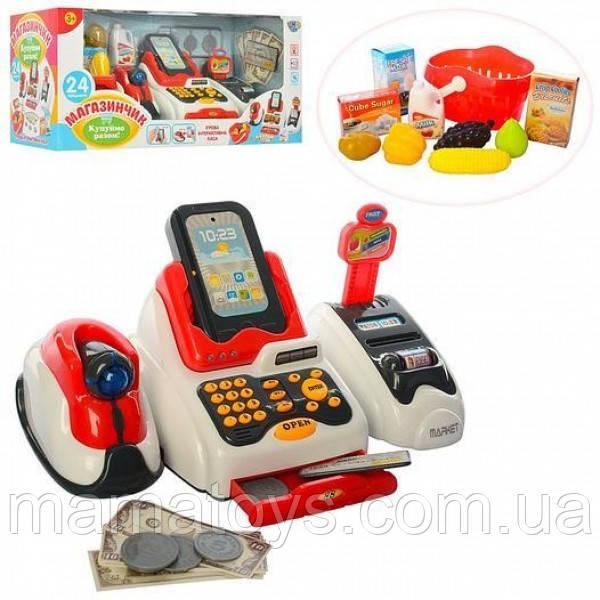Детская игровая касса 668-48 Магазинчик. Световые и Звуковые эффекты, Сканер, корзинка с продуктами