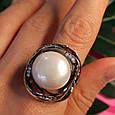Серебряное кольцо с крупным жемчугом - Брендовое итальянское кольцо с жемчугом, фото 10