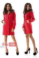 Пальто женское кашемировое на пуговицах - Красный