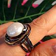 Серебряное кольцо с крупным жемчугом - Брендовое итальянское кольцо с жемчугом, фото 8
