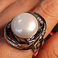 Серебряное кольцо с крупным жемчугом - Брендовое итальянское кольцо с жемчугом, фото 7
