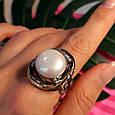 Серебряное кольцо с крупным жемчугом - Брендовое итальянское кольцо с жемчугом, фото 6