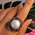 Серебряное кольцо с крупным жемчугом - Брендовое итальянское кольцо с жемчугом, фото 5