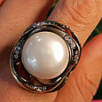 Серебряное кольцо с крупным жемчугом - Брендовое итальянское кольцо с жемчугом, фото 4