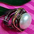 Серебряное кольцо с крупным жемчугом - Брендовое итальянское кольцо с жемчугом, фото 3