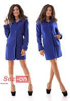 Пальто женское кашемировое на пуговицах - Синий