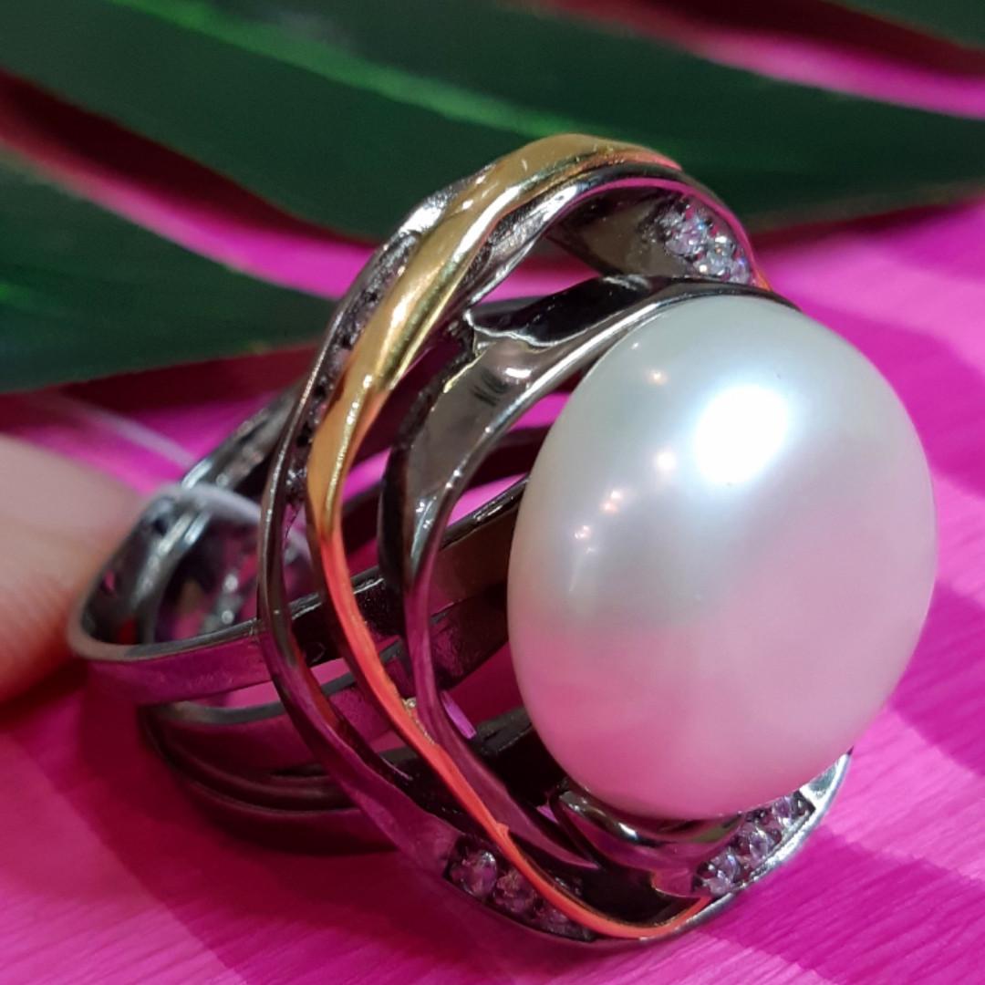 Серебряное кольцо с крупным жемчугом - Брендовое итальянское кольцо с жемчугом