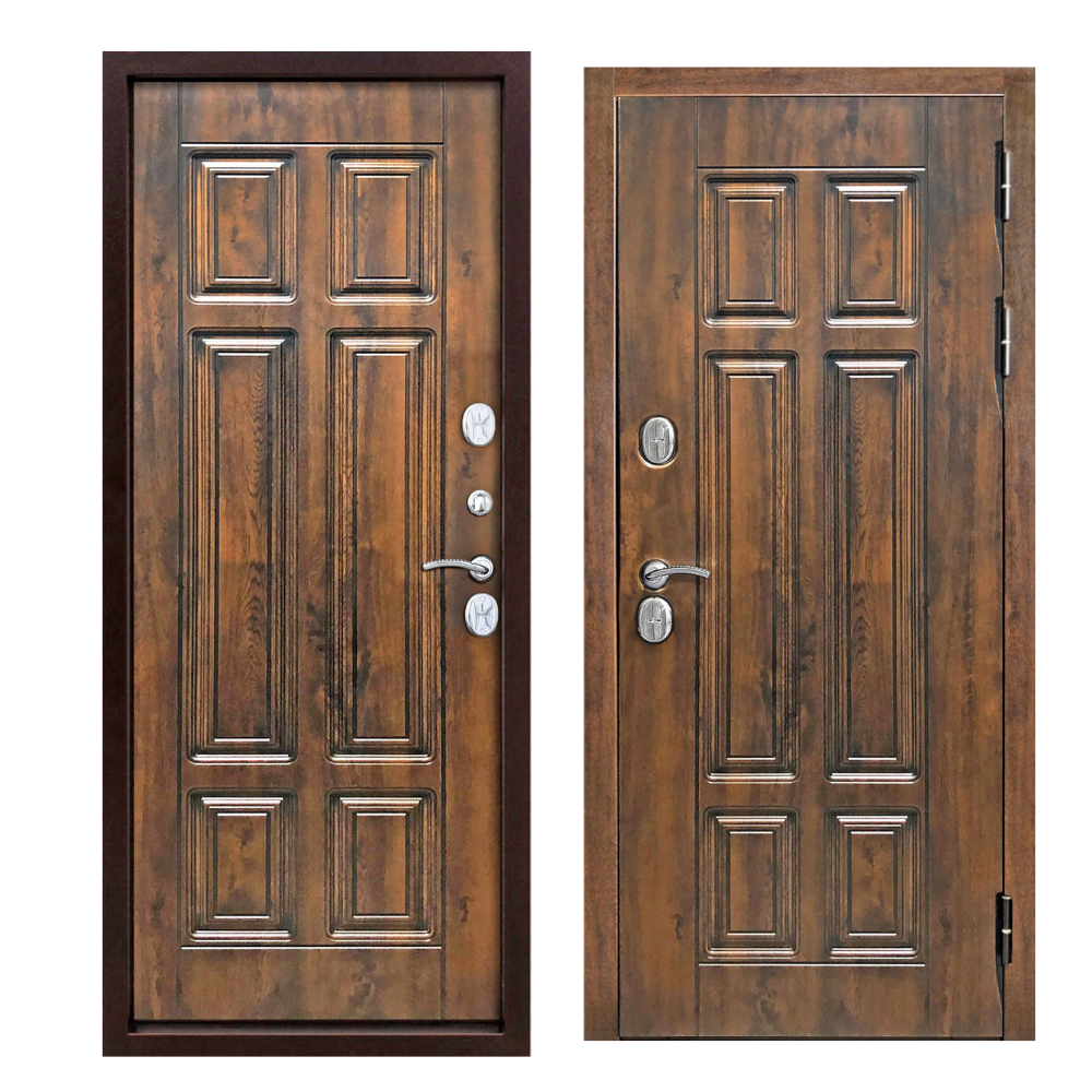 Дверь входная морозостойкая c терморазрывом 13 см Isoterma МДФ/МДФ Грецкий орех