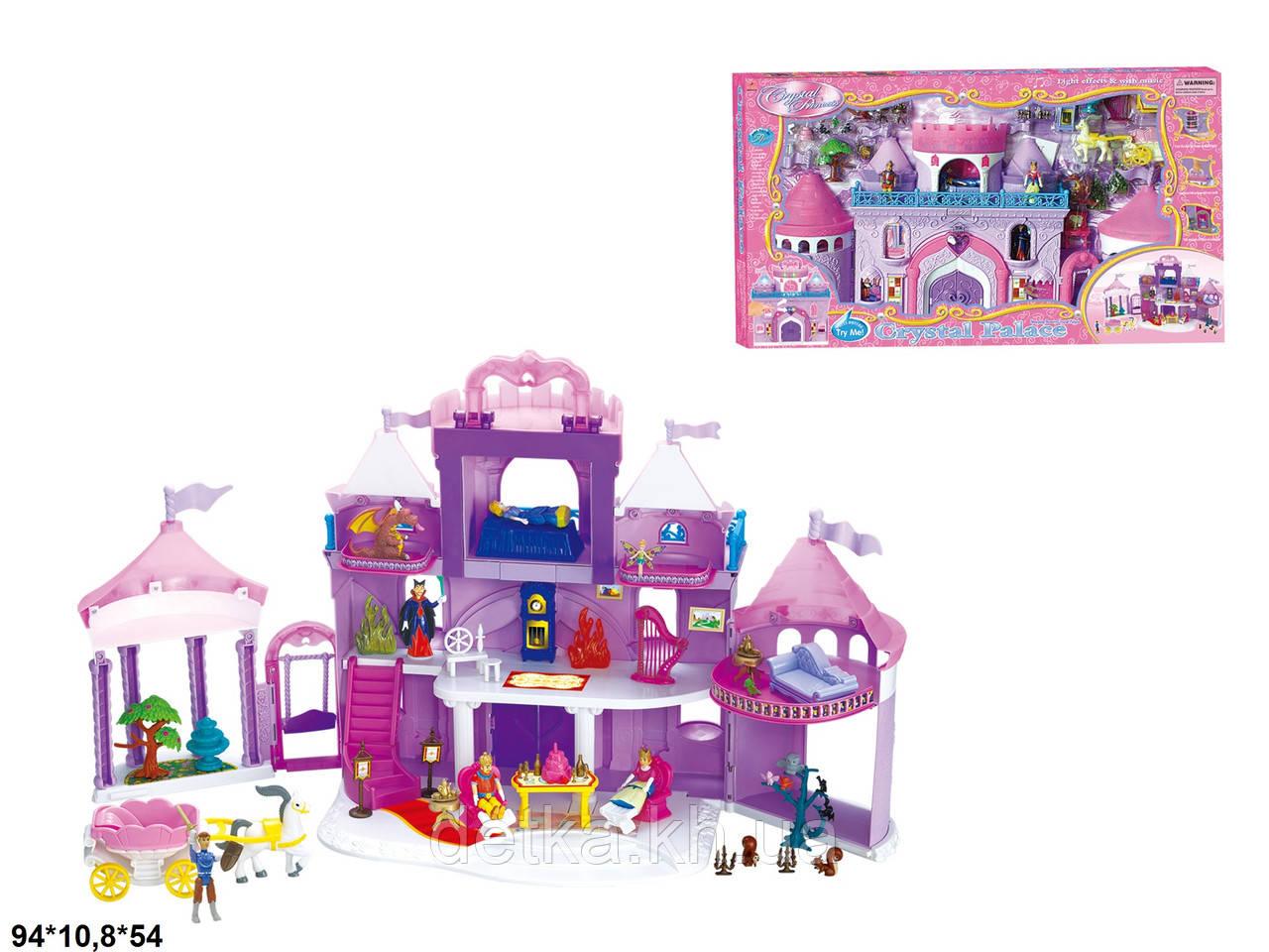 Замок 16398 з ляльками,меблями,каретою/батар.муз.світ