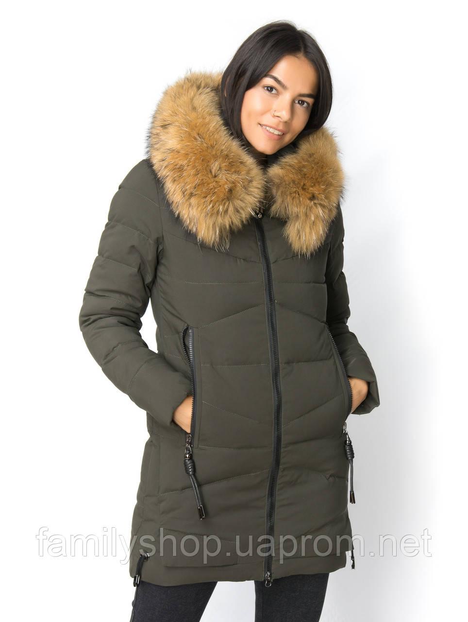 Теплое женское зимнее  пальто с натуральным мехом чернобурки