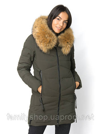 Теплое женское зимнее  пальто с натуральным мехом чернобурки, фото 2