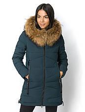 Теплое женское зимнее  пальто с натуральным мехом чернобурки, фото 3