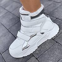 Кроссовки женские белые зимние на толстой подошве, на липучках спортивные ботинки (Код: 1590)