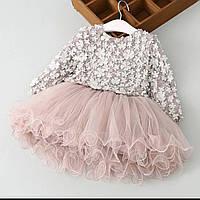 Детское нарядное платье с длинным рукавом, нарядное платье для девочки с рукавом р  104, 110