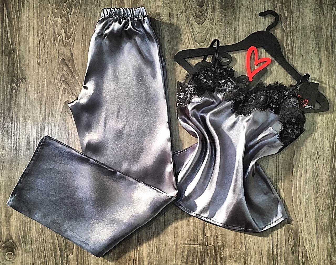 Женские пижамы, стальной комплект майка и штаны 050.