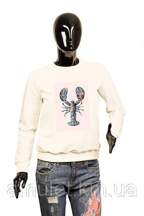 """Світшот жіночий """"Гламурний омар в квітах"""", фото 2"""