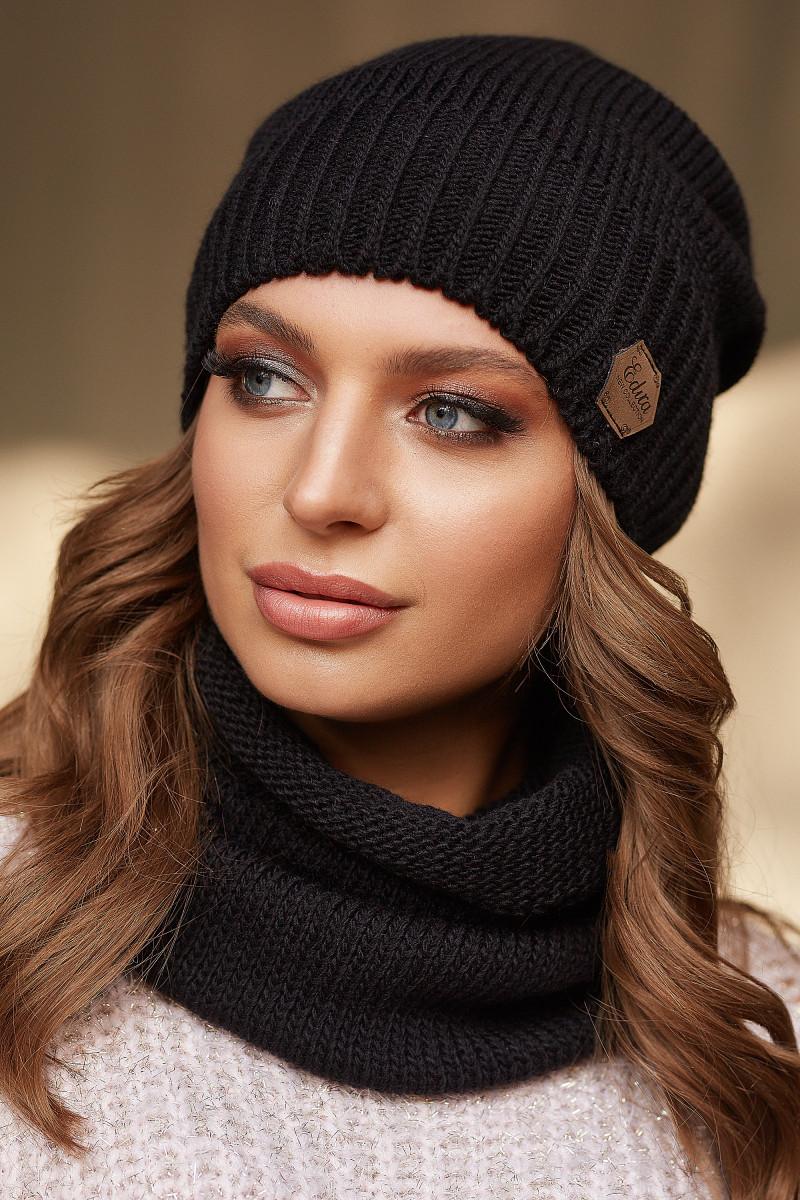 Комплект шапка и снуд зимний 9-15 цвет черный