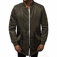 Куртка мужская из полиэстера длинная на осень/еврозиму стильная цвета хаки