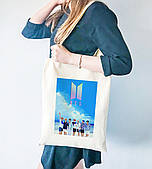 Эко сумка шоппер с принтом БТС (BTS)  (9227-1079)