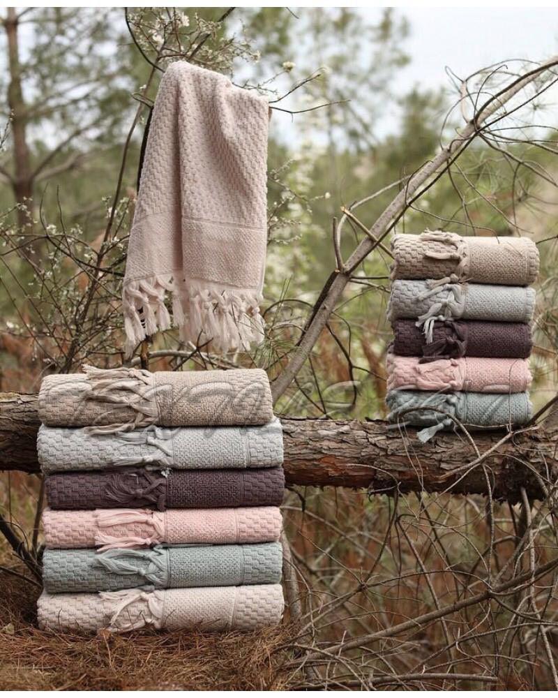 Хлопковые полотенца с кисточками, Sikel Mikanos 70х140 см. Турция