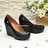 Женские кожаные туфли на устойчивой высокой платформе, фото 3