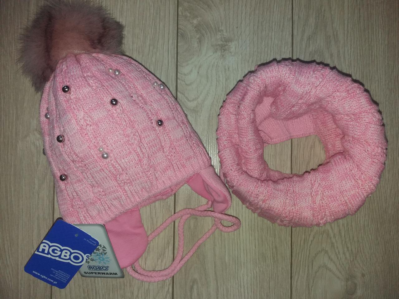 Детский зимний комплект шапка и снуд на девочку.(1-2 года)
