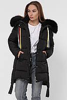 Зимняя женская куртка черного цвета прямого кроя с капюшоном