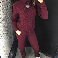 Женский спортивный костюм - Вязаный (Бордовый), фото 1