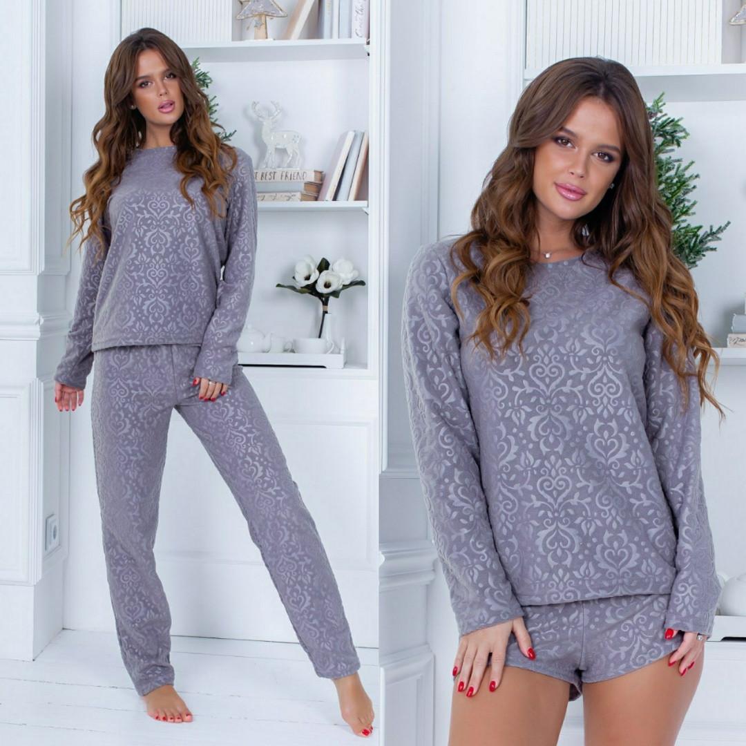 Пижама женская набор тройка :кофта- штаны -шорты.