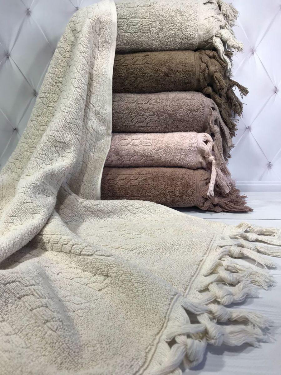 Хлопковые полотенца с кисточками, Sikel Sezar70х140 см. Турция