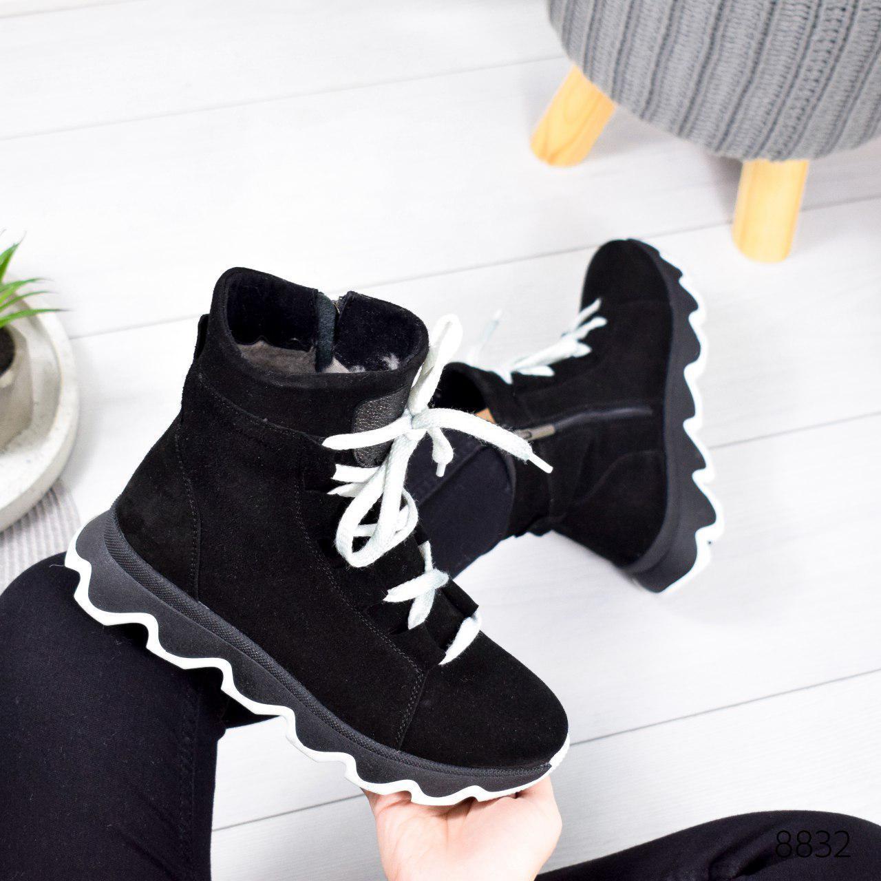 """Ботинки женские зимние, черного цвета из натуральной замши """"8832"""". Черевики жіночі. Ботинки теплые"""