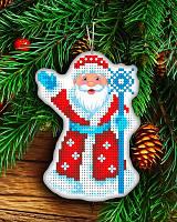 """Новогодняя игрушка """"Дед Мороз"""" (Заготовка для вышивки бисером на атласе), фото 1"""