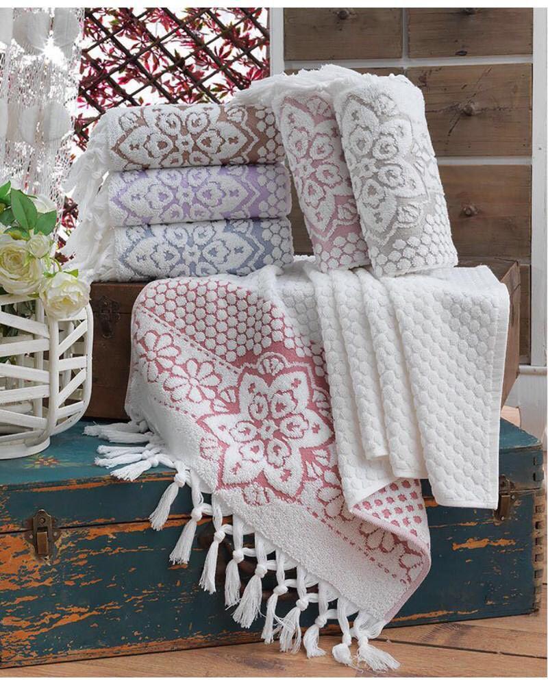Хлопковые полотенца с кисточками, Sikel Sunny 50х90. Турция