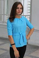 """Блузка женская с поясом однотонная голубая """"Ирма"""""""