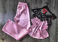 Розовая атласная пижама с штанами, женские пижамы.
