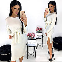 Однотонное женское платье из ангоры АА/-1298 - Белый, фото 1