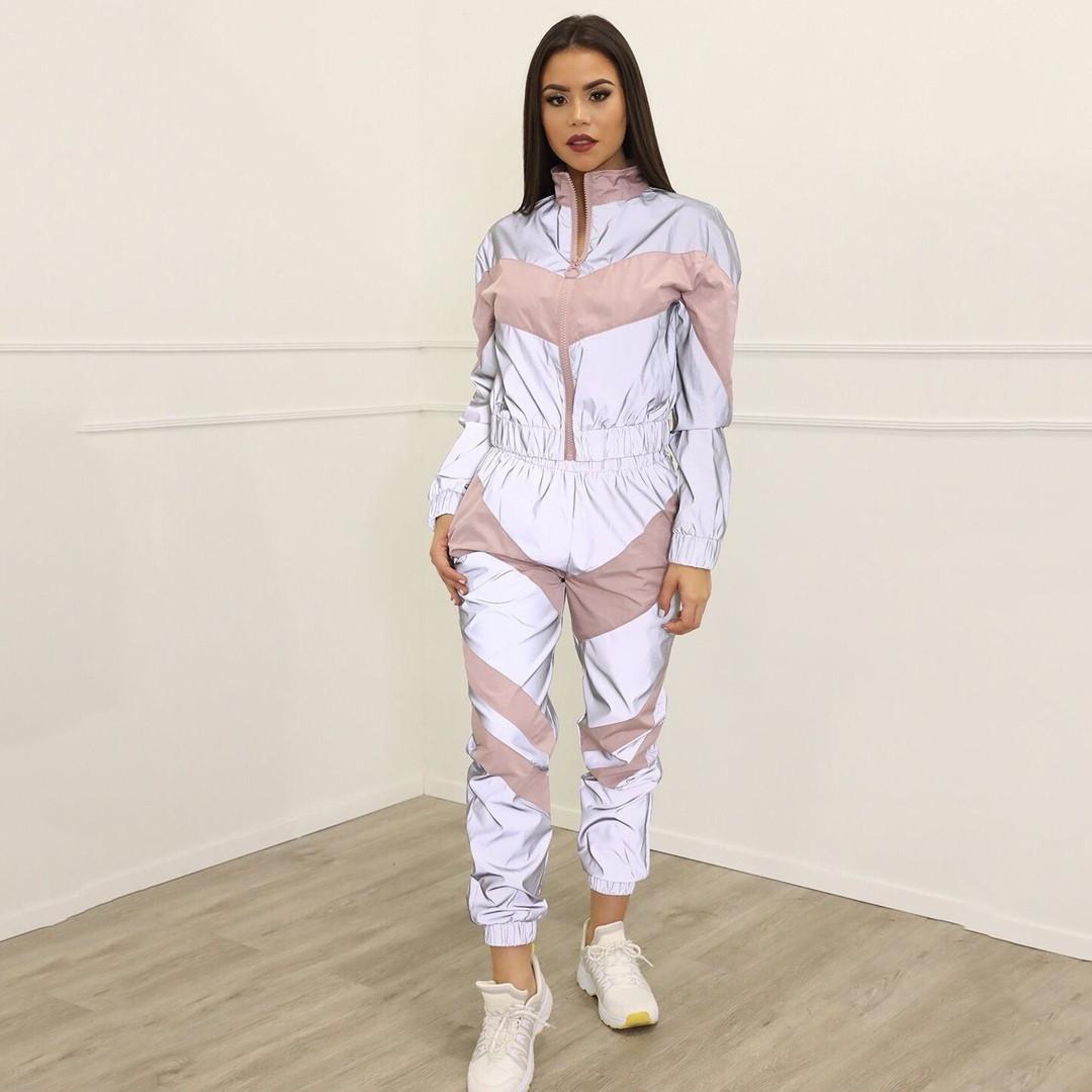 Женский рефлективный спортивный костюм с розовыми вставками