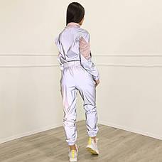 Женский рефлективный спортивный костюм с розовыми вставками, фото 3