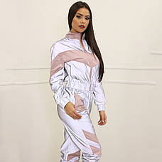 Женский рефлективный спортивный костюм с розовыми вставками, фото 2