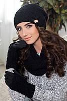 Комплект «Франческа» (шапка, шарф-снуд  и перчатки) (черный) Braxton