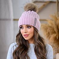 Женская зимняя теплая шапка с помпоном пряжа, фото 1