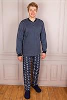 Хлопковая мужская теплая пижама с начесом 46р СИНЯЯ и СВЕТЛО-СЕРАЯ