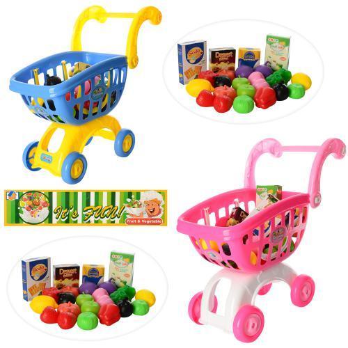 Детская тележка с продуктами для игры в супермаркет 9639-85-86